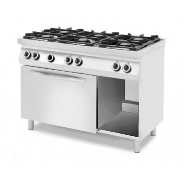 Kuchnie gazowe 6-palnikowe na podstawie z trzech stron zamkniętej, z piekarnikiem gazowym lub elektrycznym z piekarnikiem elektr