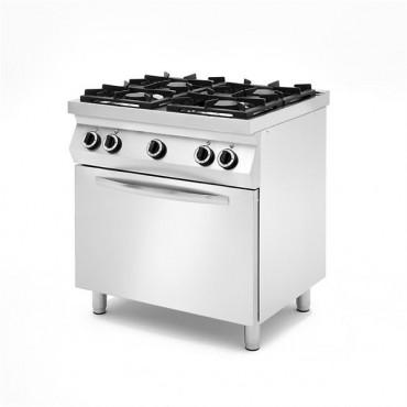 Kuchnie gazowe 4 palnikowe na podstawie z trzech stron zamkniętej, z piekarnikiem gazowym lub elektrycznym na podstawie otwartej