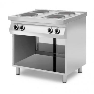 Kuchnie elektryczne 4-płytowe na podstawie z trzech stron zamkniętej lub z piekarnikiem elektrycznym na podstawie otwartej Grafe