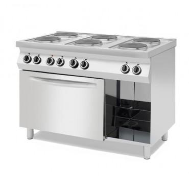 Kuchnie elektryczne 6-płytowe na podstawie z trzech stron zamkniętej lub z piekarnikiem elektrycznym z  piekarnikiem elektryczny