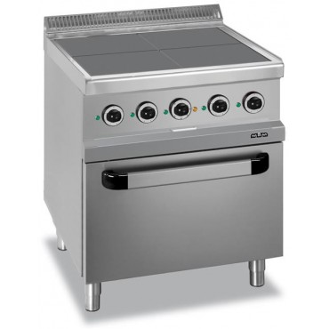 Kuchnia elektryczna 4-płytowa z piekarnikiem elektrycznym, wentylowanym GN 1/1, z kwadratowymi, wpuszczonymi płytami linia 700
