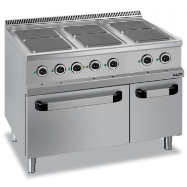Kuchnia elektryczna 6-płytowa z piekarnikiem elektrycznym GN 2/1, z kwadratowymi płytami linia 700