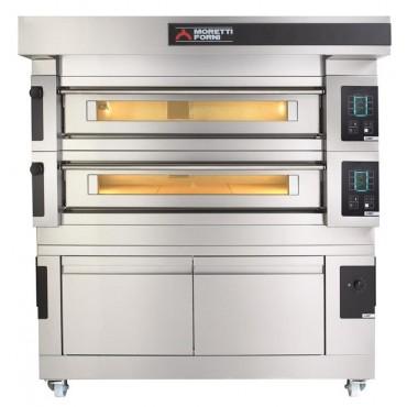 Wielokomorowy elektryczny piec do pizzy i piekarniczy S120E piec dwukomorowy z okapem i bazą
