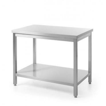 Stół roboczy centralny z półką - skręcany 1400 x 600